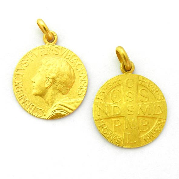 medalla san benito joven oro amarillo