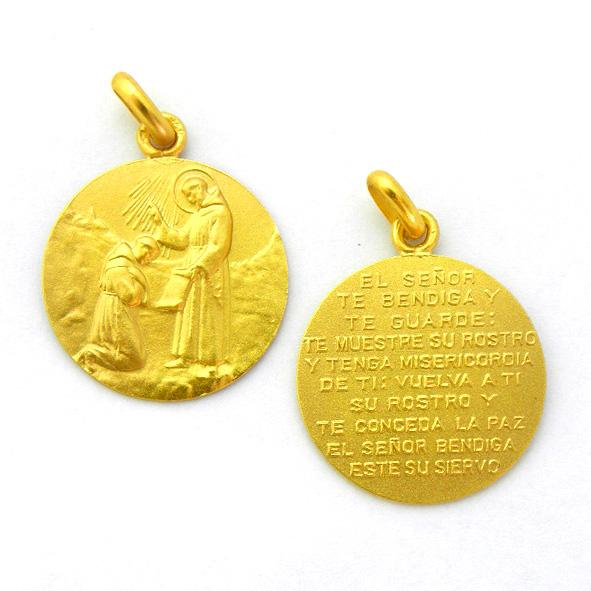 medalla bendicion san francisco oro amarillo