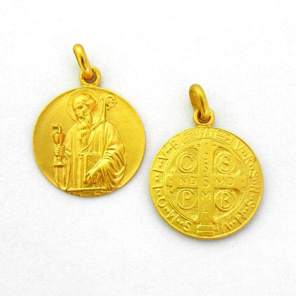 Medalla san benito viejo oro amarillo