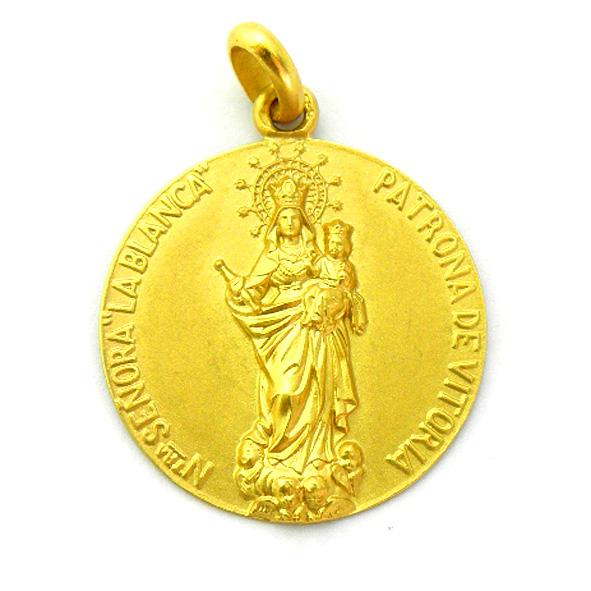 medalla virgen blanca patrona de vitoria oro amarillo