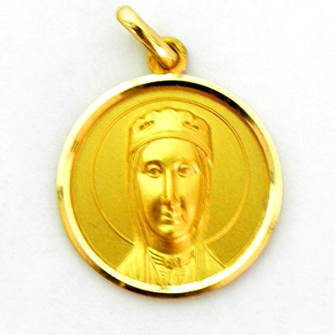 medalla nuestra señora de montserrat de frente oro amarillo