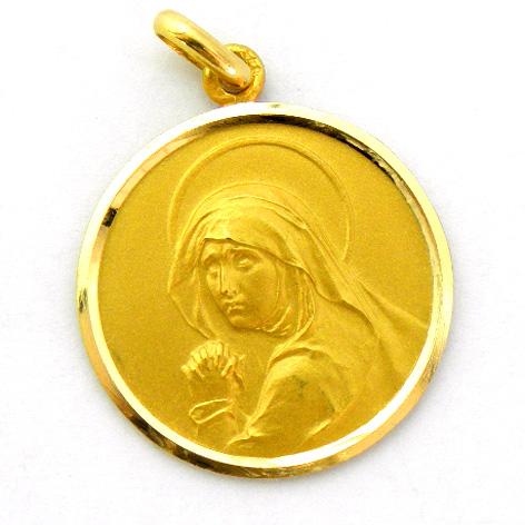 medalla virgen de los dolores (antigua) oro amarillo