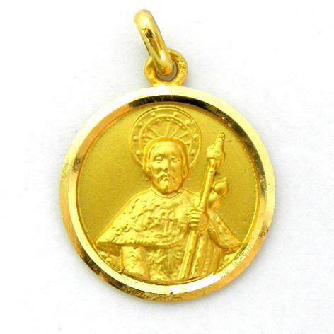 medalla santiago apostol busto bisel lapidado oro amarillo