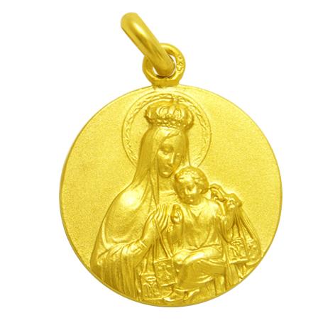 medalla Virgen del Carmen corona oro amarillo