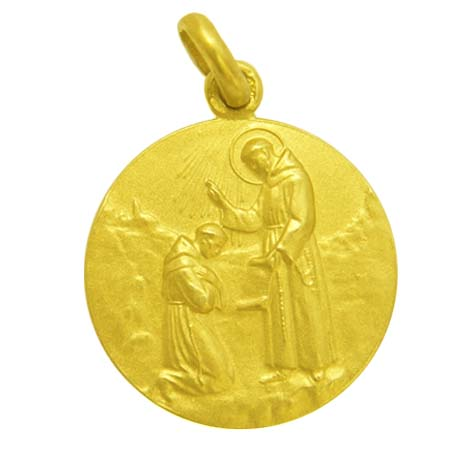 medalla bendicion de san francisco oro amarillo