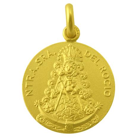 medalla nuestra señora del rocio oro amarillo