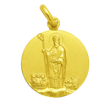 medalla san nicolas oro amarillo