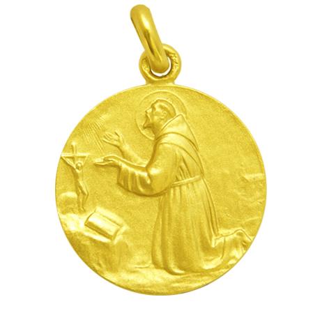 medalla san francisco de asis oro amarillo