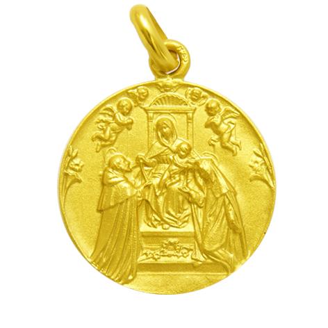 medalla nuestra señora del rosario oro amarillo