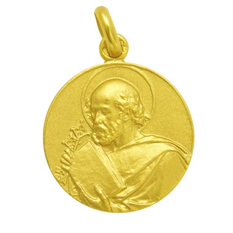 medalla san pedro oro amarillo