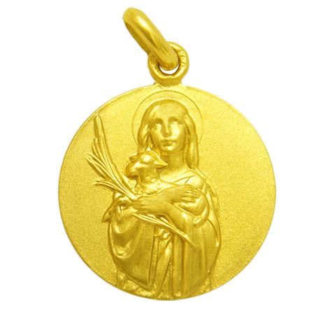 medalla santa ines oro amarillo