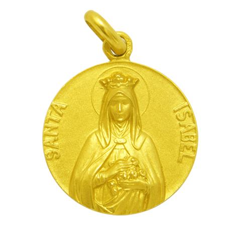 medalla santa isabel oro amarillo