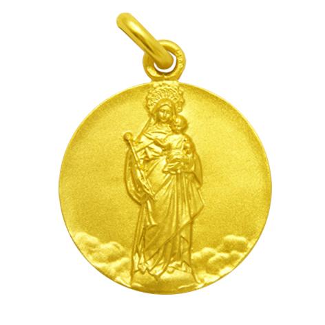 medalla virgen blanca oro amarillo
