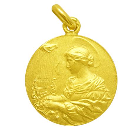 medalla santa cecilia oro amarillo