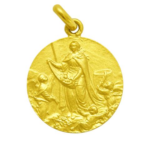 medalla santa eulalia con angeles oro amarillo