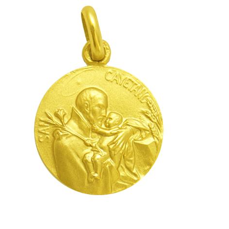 medalla san cayetano oro amarillo