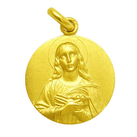 medalla santa lucia oro amarillo