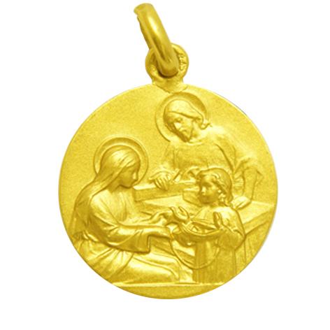 medalla sagrada familia oro amarillo