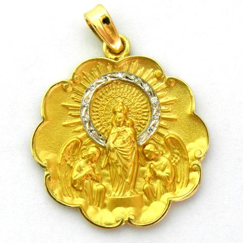 medalla virgen pilar con corona de brillantes bisel ondas oro amarillo