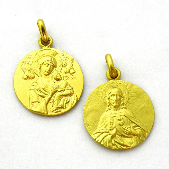 medalla virgen perpetuo socorro sagrado corazon oro amarillo