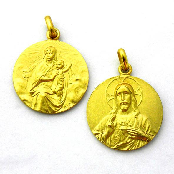 medalla virgen carmen manto / sagrado corazon grande oro amarillo