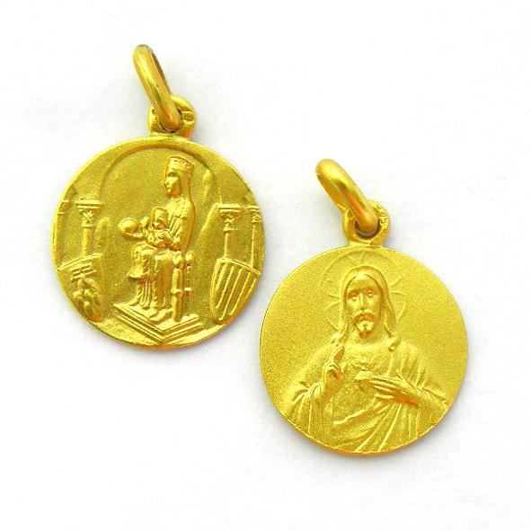 medalla nuestra señora de montserrat bajo arco sagrado corazon oro amarillo