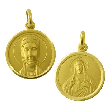 medalla nuestra señora de montserrat de frente sagrado corazon oro amarillo