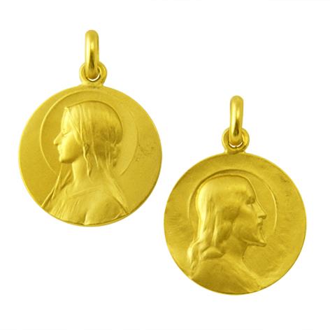 medalla ave velo cristo salvador oro amarillo
