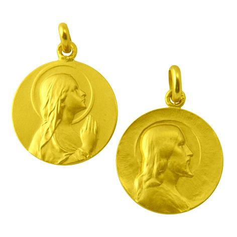 medalla ave manos / cristo salvador oro amarillo