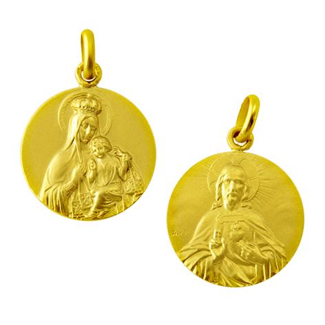 medalla virgen carmen / sagrado corazon pequeño oro amarillo