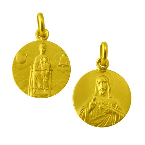 medalla nuestra señora de nuria sagrado corazon oro amarillo