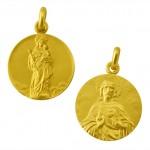 medalla virgen blanca / sagrado corazon oro amarillo