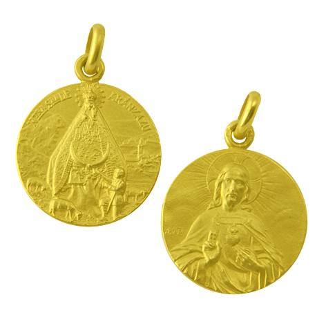 medalla nuestra señora de aranzazu sagrado corazon oro amarillo