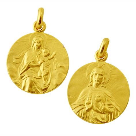medalla virgen carmen manto sagrado corazon oro amarillo