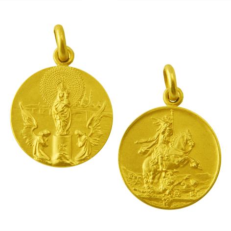 medalla virgen del pilar santiago apostol oro amarillo
