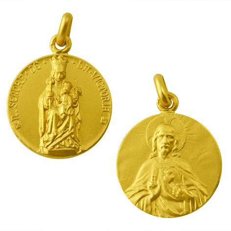 medalla nuestra señora de la victoria sagrado corazon oro amarillo