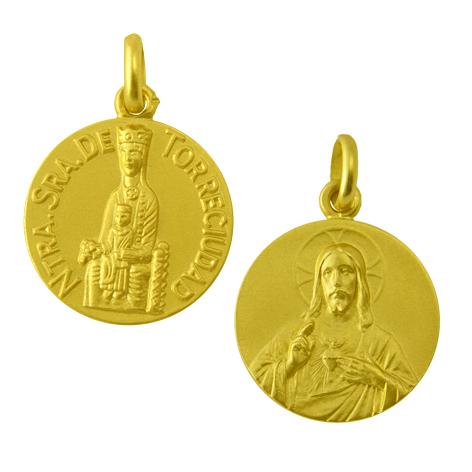 medalla nuestra señora de torreciudad sagrado corazon oro amarillo