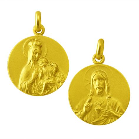 medalla virgen del carmen / sagrado corazon oro amarillo