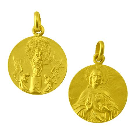 medalla virgen pilar / sagrado corazon oro amarillo