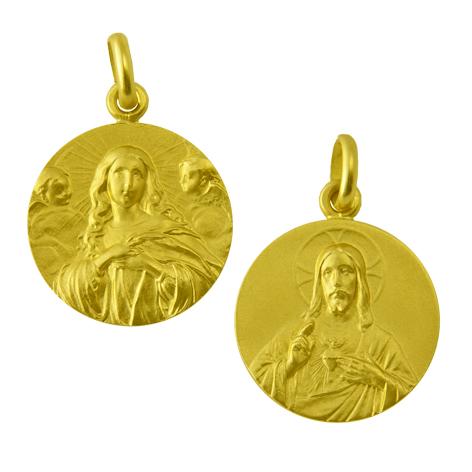 medalla la purisima concepcion / sagrado corazon oro amarillo