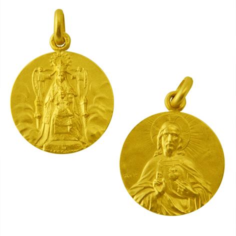 medalla nuestra señora de la merced / sagrado corazon oro amarillo