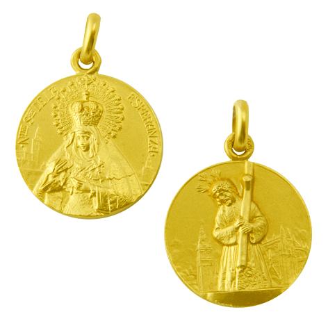 medalla nuestra señora de la esperanza o macarena / cristo gran poder oro amarillo