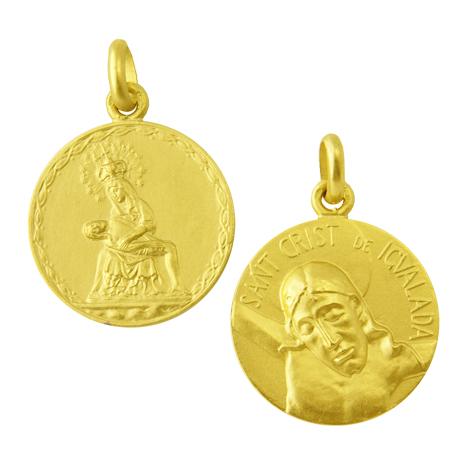 medalla virgen piedad / cristo de igualada oro amarillo