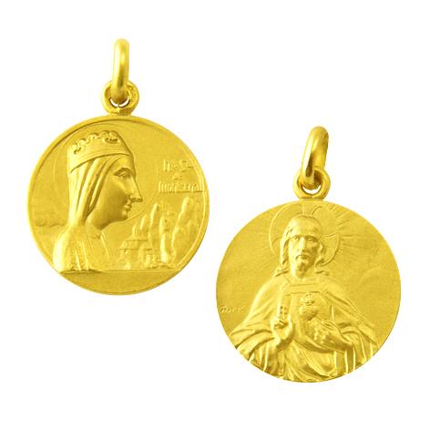 medalla nuestra señora de montserrat / sagrado corazon oro amarillo