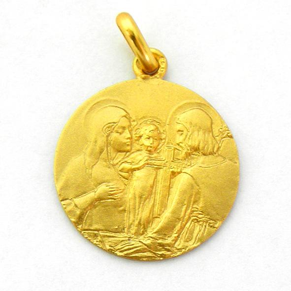 medalla sagrada familia con cruz oro amarillo