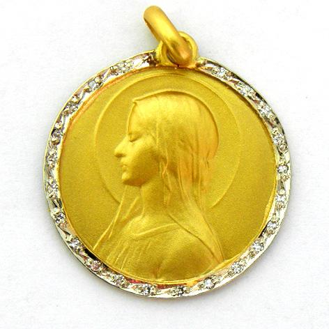 medalla ave velo orla de brillantes oro amarillo