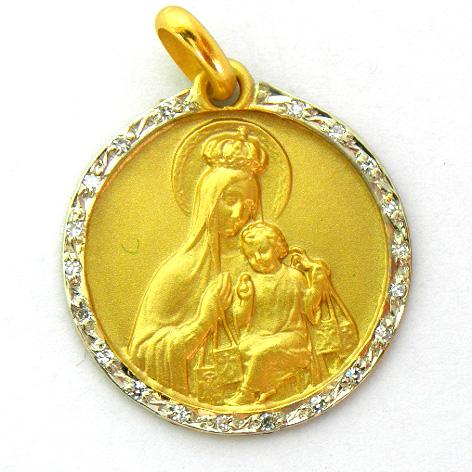 medalla virgen del carmen con orla de brillantes