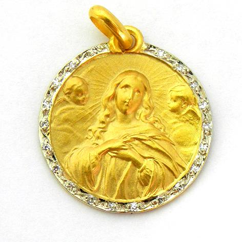 medalla la purisima concepcion con orla de brillantes oro amarillo