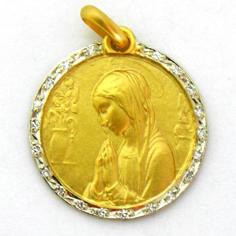 medalla ave flores con orla de brillanes oro amarillo