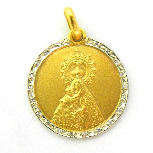 medalla nuestra señora del mar con orla de brillantes oro amarillo